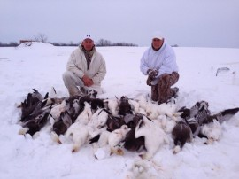 Retired KC Chief, Tony Adams and I on a exciting spring snow goose hunt just south of KC. The heavy snows changed the northward migration and they were concentrated in places we would never hunt.